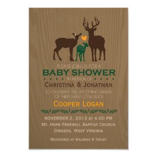 お母さん、パパ及び男の赤ちゃんのシカ-オレンジシャワーの招待 8.9 X 12.7 インビテーションカード