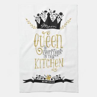 お母さん-台所|金ゴールドのグリッターの女王 キッチンタオル