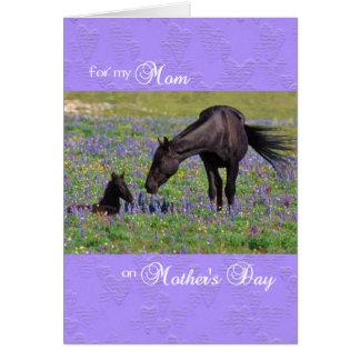 お母さん-子馬を持つロバのための母の日カード カード