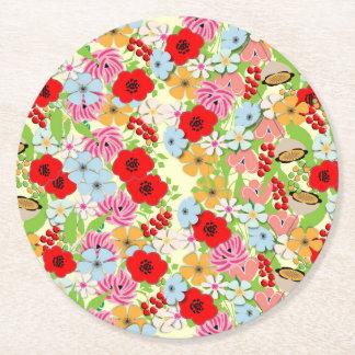 お洒落でかわいらしい野生花の花柄 ラウンドペーパーコースター