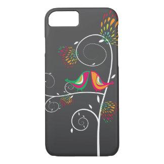 お洒落でカラフルでキスをするな夏の鳥の包装 iPhone 7ケース