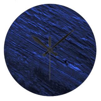 お洒落でモダンで青いWoodgrainの時計 ラージ壁時計