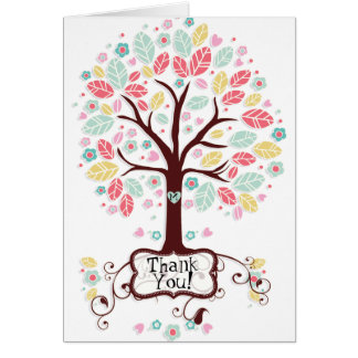 お洒落でモダンな渦巻のハートの花の木は感謝していしています カード