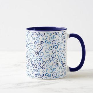 お洒落で青い水彩画のカーブ マグカップ