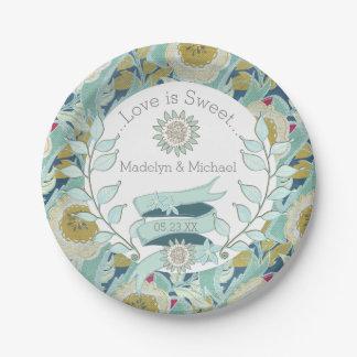 お洒落で青い花のカスタムな結婚式の紙皿 ペーパープレート