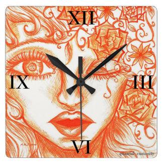 お洒落で、粋なオレンジアクリルの壁の芸術の時計 スクエア壁時計