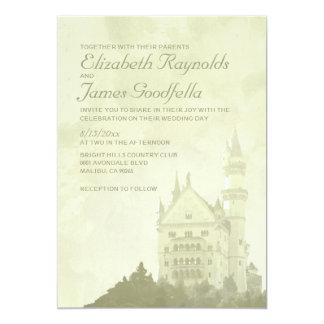 お洒落なおとぎ話の城の結婚式招待状 カード