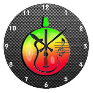 お洒落なアコースティックギター ラージ壁時計