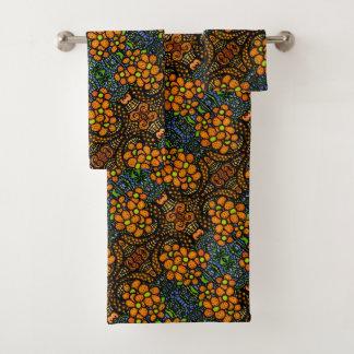 お洒落なオレンジ花パターン バスタオルセット
