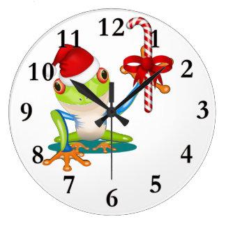 お洒落なクリスマスのカエルおよびキャンディ・ケーンの柱時計 ラージ壁時計