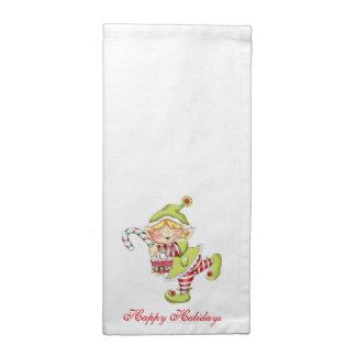 お洒落なクリスマスの小妖精や小人 ナプキンクロス