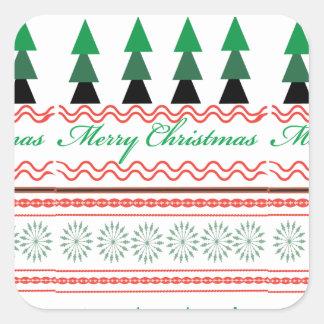 お洒落なクリスマスの幾何学的なパターン スクエアシール