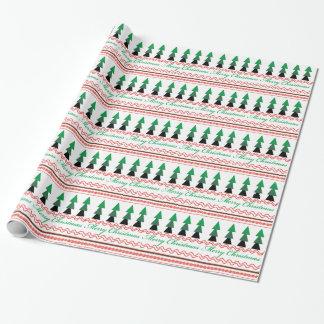 お洒落なクリスマスの幾何学的なパターン ラッピングペーパー