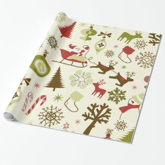 お洒落なクリスマスアイコンギフト用包装紙 ラッピングペーパー