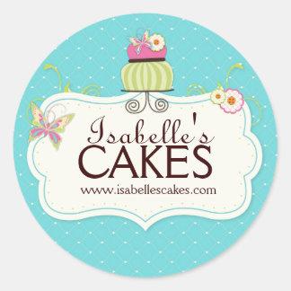 お洒落なケーキのラベル ラウンドシール