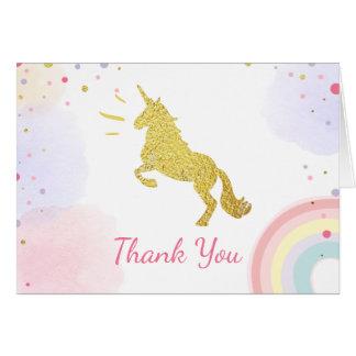 お洒落なサンキューカードのユニコーンの金ゴールドのピンクの女の子 カード