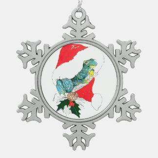 お洒落なサンタの帽子を持つかわいいクリスマスのカエル スノーフレークピューターオーナメント