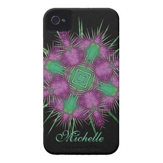 お洒落なスコットランドのアザミの頭部の花柄 Case-Mate iPhone 4 ケース