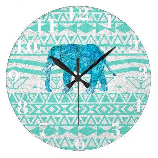 お洒落なターコイズのペイズリー象のアズテック人パターン ラージ壁時計