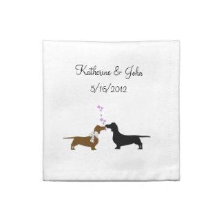 お洒落なダックスフントの結婚式の布のナプキン ナプキンクロス