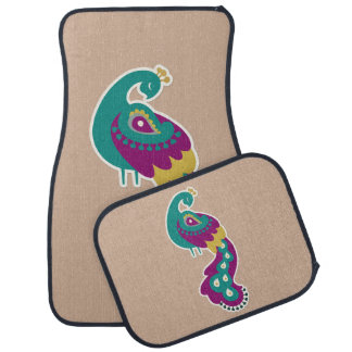 お洒落なティール(緑がかった色)の孔雀 カーマット