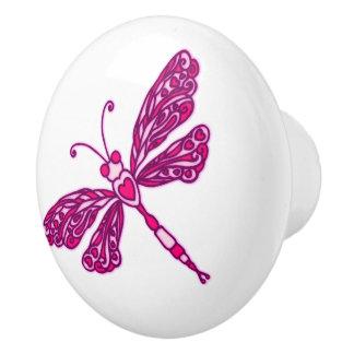 お洒落なトンボのピンクは芸術のドアノブにインクをしみ込ませました セラミックノブ
