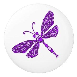 お洒落なトンボの紫色のインクをしみ込ませられた芸術のドアノブ セラミックノブ