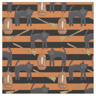 お洒落なハロウィンは、猫、カボチャ生地縞で飾ります ファブリック