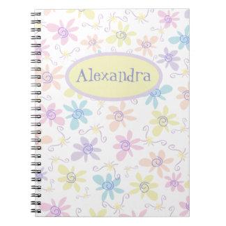 お洒落なパステル調の花 ノートブック