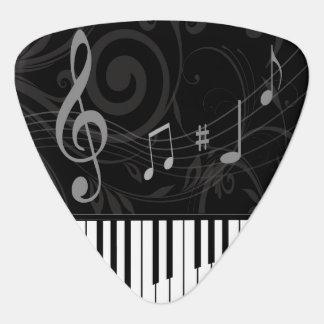 お洒落なピアノおよび音符 ギターピック
