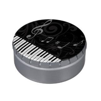 お洒落なピアノおよび音符 缶入りキャンディー
