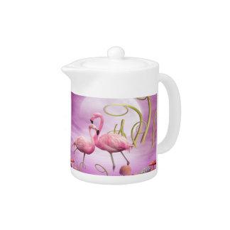 お洒落なピンクのフラミンゴのティーポット