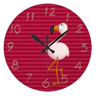 お洒落なピンクのフラミンゴの時計 ラージ壁時計