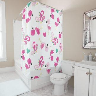 お洒落なピンクのフラミンゴパターン シャワーカーテン