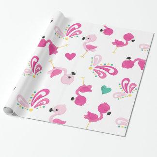 お洒落なピンクのフラミンゴパターン ラッピングペーパー