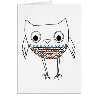 お洒落なフクロウのオレンジ暗藍色の森林創造物 カード