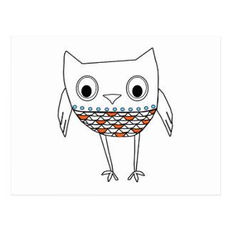 お洒落なフクロウのオレンジ暗藍色の森林創造物 ポストカード