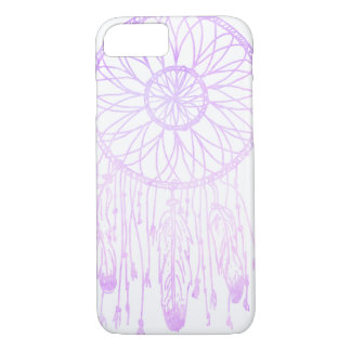 お洒落なボヘミアの夢のキャッチャーの紫色の水彩画 iPhone 8/7ケース