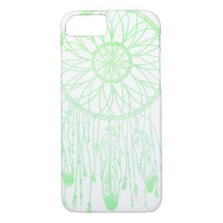 お洒落なボヘミアの夢のキャッチャーの緑の水彩画 iPhone 8/7ケース