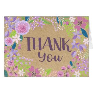 お洒落なラベンダーの花のクラフト紙は感謝していしています カード