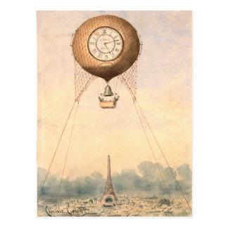 お洒落なヴィンテージの熱気の気球の郵便はがき ポストカード