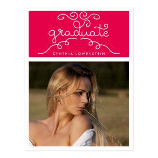 お洒落な上品の卒業生のタイポグラフィの写真のピンク ポストカード