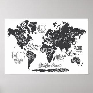 お洒落な世界地図 ポスター