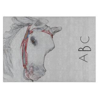 お洒落な回転木馬の馬|のカスタムなモノグラムのイニシャル カッティングボード