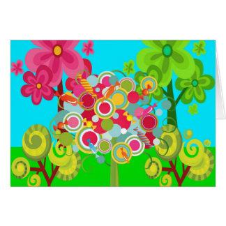 お洒落な夏の棒つきキャンデーの木のカラフルの森林 カード