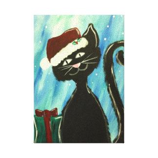 お洒落な子猫のクリスマスの絵画 キャンバスプリント
