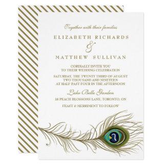 お洒落な孔雀の羽の結婚式招待状II カード