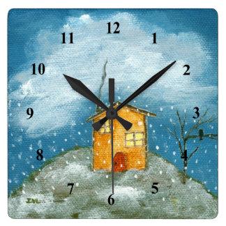お洒落な家の吹雪の木の民芸の絵画 スクエア壁時計