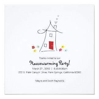 お洒落な引っ越し祝いパーティーのパーティー 13.3 スクエアインビテーションカード