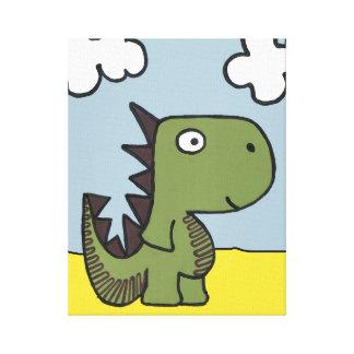 お洒落な恐竜の友人、かわいくおよび愛らしいです キャンバスプリント